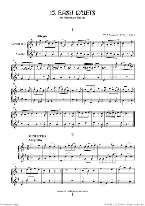 Mozart - Easy Duets sheet music for clarinet and alto